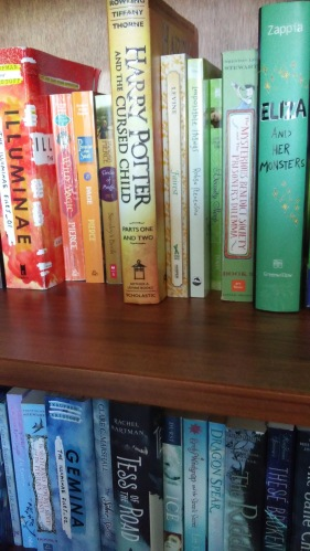 Close up rainbow bookshelf