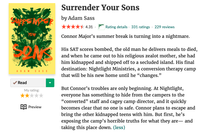 Surrender Your Sons goodreads page