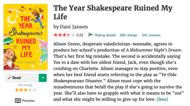 The Year Shakespeare Ruined My Life by Dani Jensen goodreads page